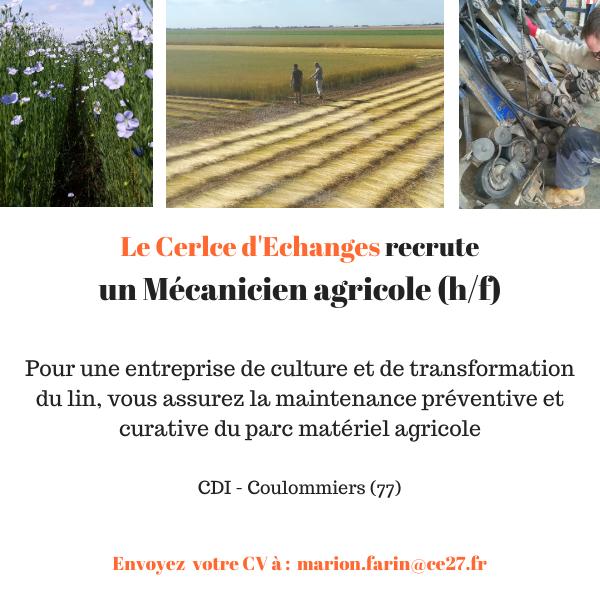 CDI Mécanicien Agri (77)