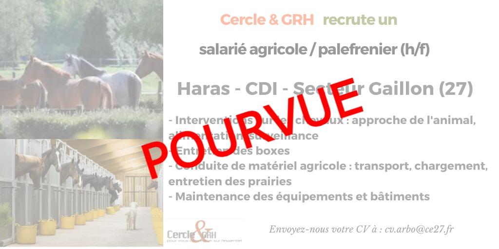 CDI Salarié Agri / Palefrenier(27)