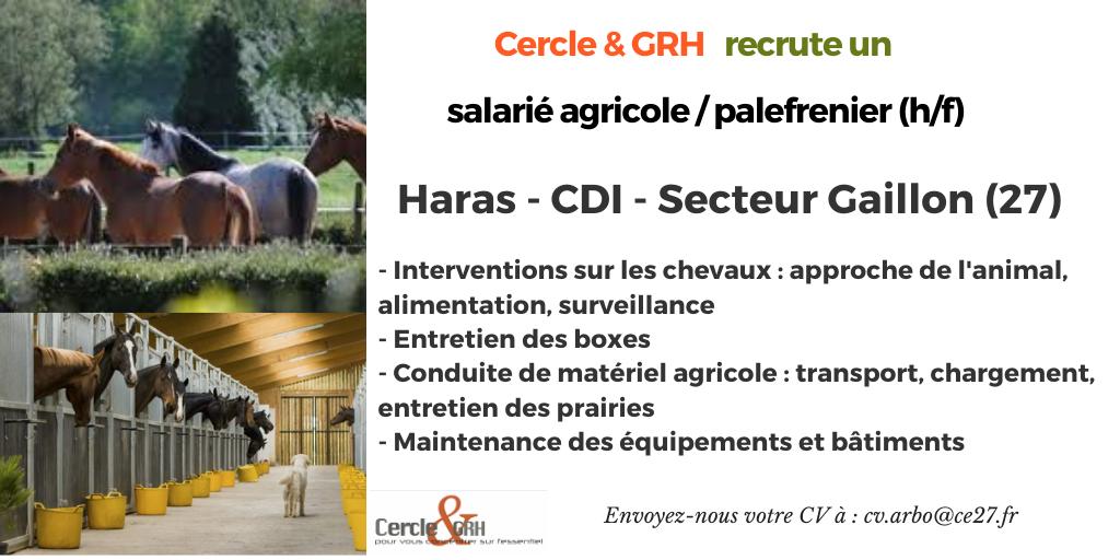 CDI Salarié Agri - Palefrenier (27)