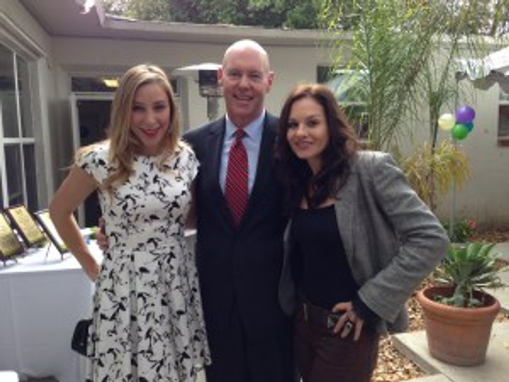 (from left to right): Becky Baeling Lythgoe, actress and music recording artist, GSF's Bill Sanderson, Senior Vice President and Chief Financial Officer and Kara DioGuardi, creator of the Phoenix  Rising Music Program at the dedication of the Phoenix Rising Music Studio in Santa Ana on November 4, 2013.