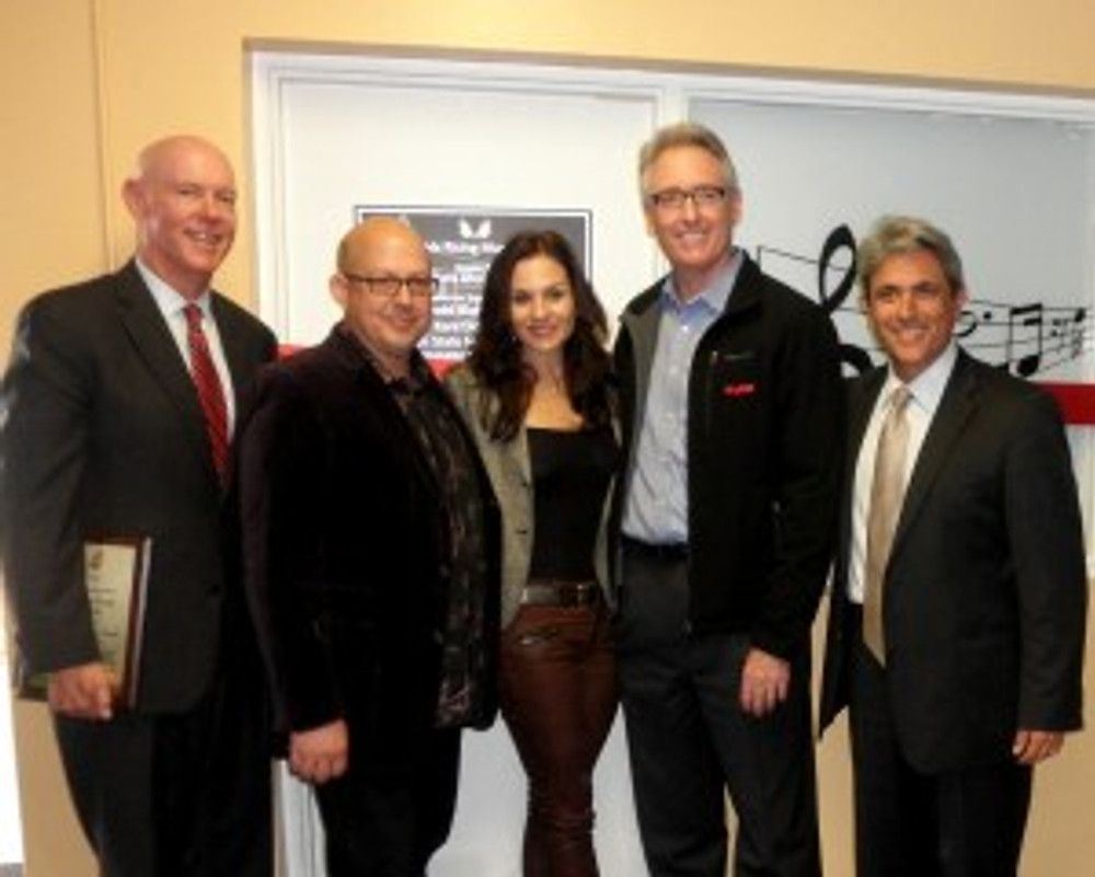 (from left to right): Bill Sanderson, Senior Vice President and Chief Financial Officer and GSF, John Morabito, Director of Music Programs at Phoenix House, Kara DioGuardi, creator of the Phoenix Rising Music Program, Joe Lamond, President of the NAMM Foundation, and Pouria Abbassi, Senior Vice President and California Regional Director of Phoenix House at the dedication of the Phoenix Rising Music Studio in Santa Ana on November 4, 2013.