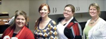 The main cooks and servers (l to r): Linda Armstrong, Senior Operations Clerk, GSF Foundation Secretary; Marsha Mears, Chipotle Coordinator; Natasha Baird, Operations Clerk and GSF Foundation Communications Chair; Brenda Pike, Receptionist.