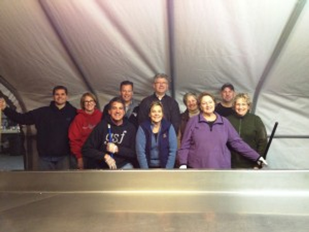 Sumner associates volunteer at the Emergency Food Network. Left to Right: Chad Hopkins, Elaine Thompson, Jerry Smith, John Gelmini, Laura Kniss, Bob Schneider, Susan Hart, Donna Tietjens, Leon Dorscher, Cindy Nelson Photo Credit: Christina Garner