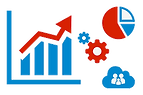 analytics campaign illustration, graph, gears, cloud with people icons, pie chart