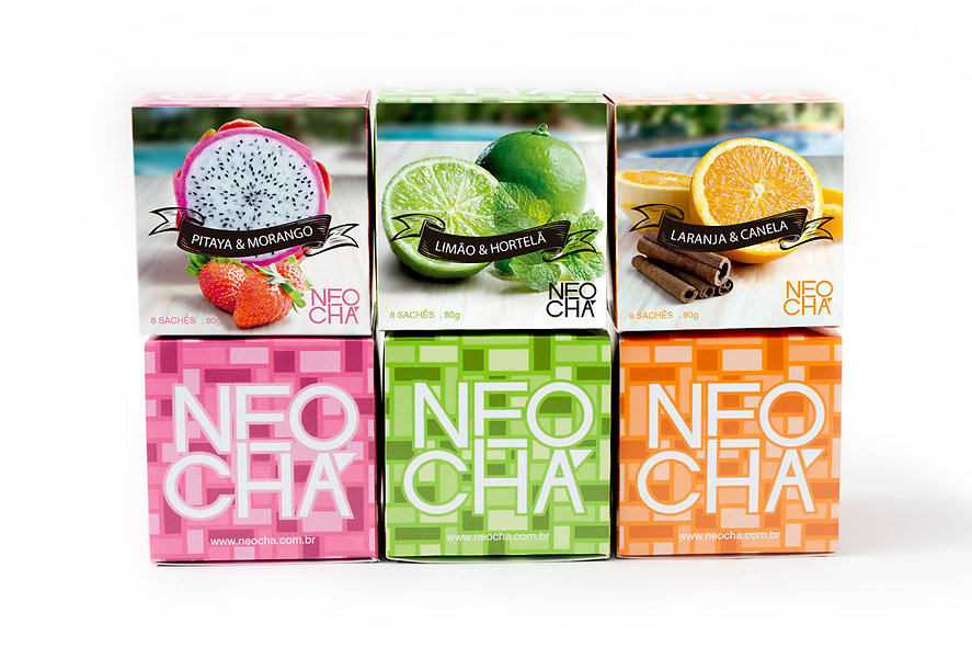 embalagem criada para a neo chá, design gráfico, fotografia de produto em estúdio e design gráfico