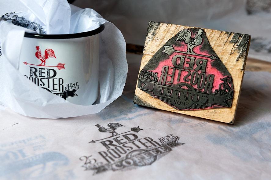 carimbos com design de estampas para timbrar papéis de proteção e de presente do Clube do Café