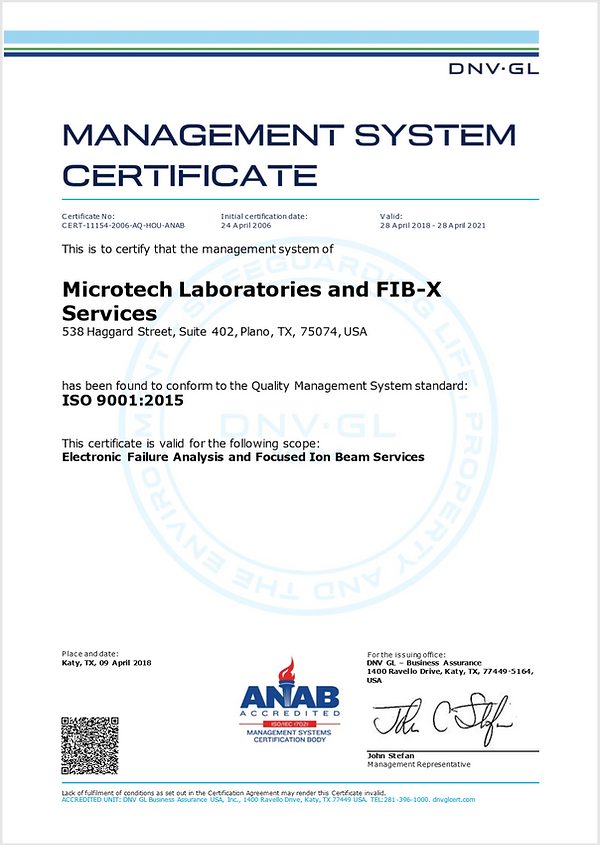 Microtech Laboratories LLC ISO 9001:2008 Certification
