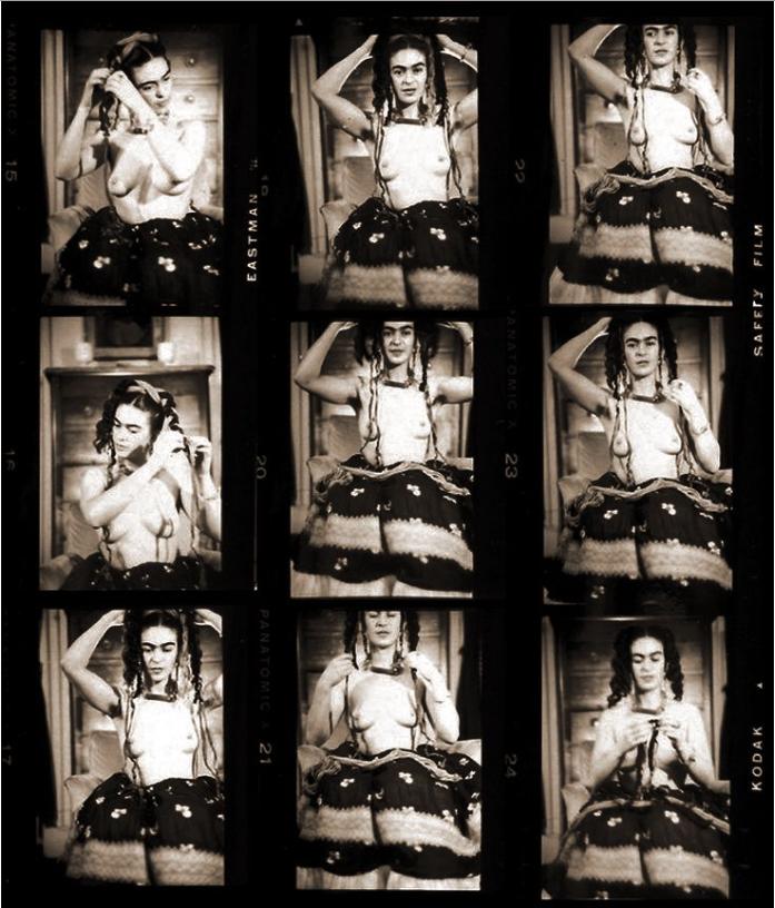 Julian Levy, Frida Kahlo, c. 1938, Strips of Contact Prints, Philadelphia Museum of Art