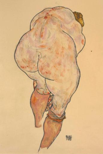 Egon Schiele, Female Nude Pulling up Stockings, 1918