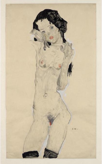 Egon Schiele, Black-haired Nude Girl, 1910, © The Albertina Museum, Vienna