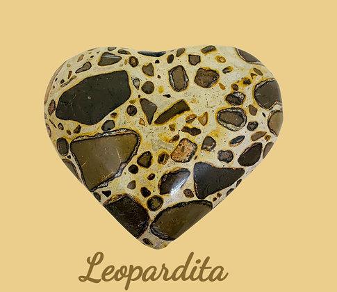 Coração de Leopardita M - Bege e Marrom  M