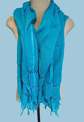 Lenço Azul Claro com franjas