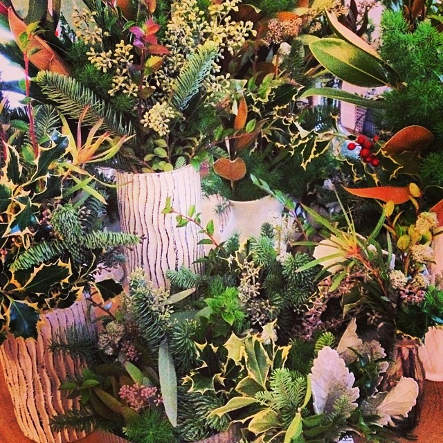 Wintery arrangements of evergreens and botanicals, en route to the Scofflaw Bazaar (3201 W Armitage,