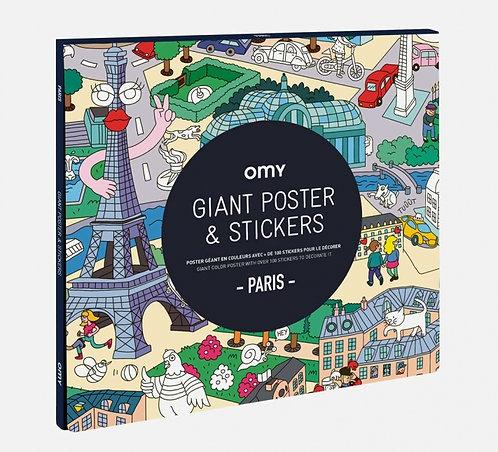 Poster géant avec stickers Paris