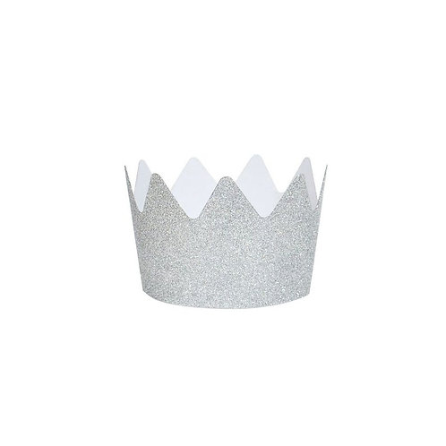 8 couronnes glitter argentées
