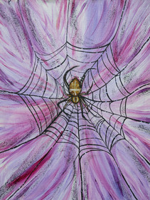 """into my web: garden orb weaver"""