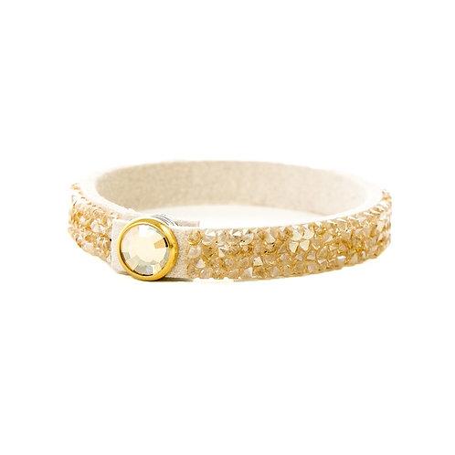 Three Row Single Wrap Bracelet - Crystal Golden Shadow Rocks