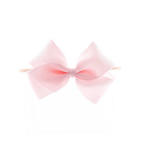 Medium London Bow Soft Hairband - Powder Pink
