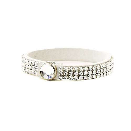 Three Row Single Wrap Bracelet - Crystal