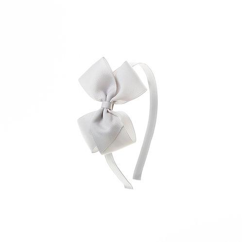 Medium London Bow Hairband - Shell Grey