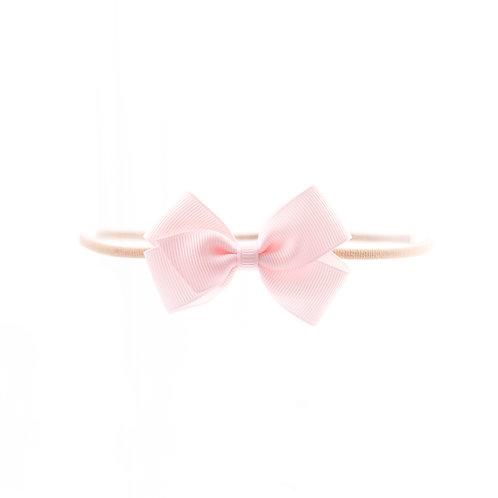Small London Bow Soft Hairband - Powder Pink