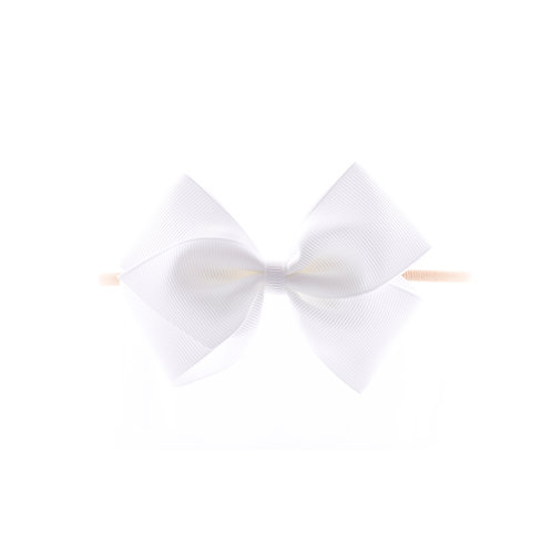 Medium London Bow Soft Hairband - White