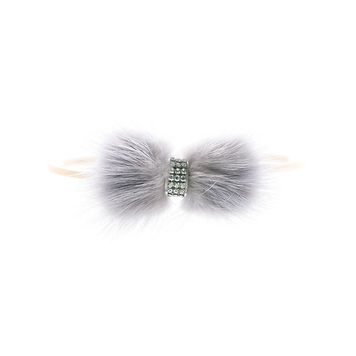 Mink Bow Soft Hairbands - Grey