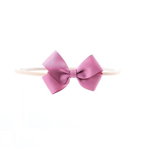 Small London Bow Soft Headband - Rosy Mauve