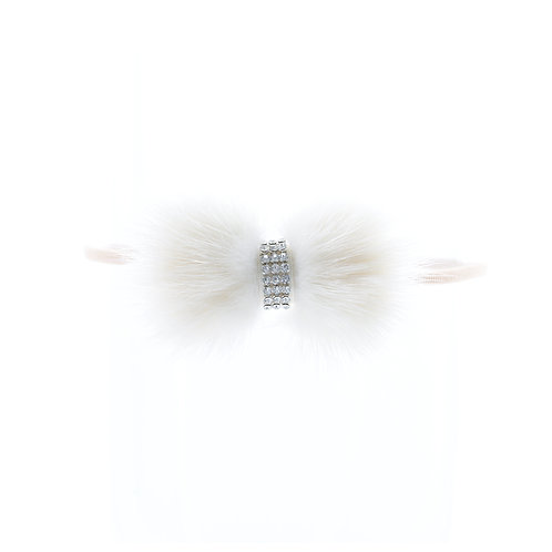 Mink Bow Soft Hairbands - White