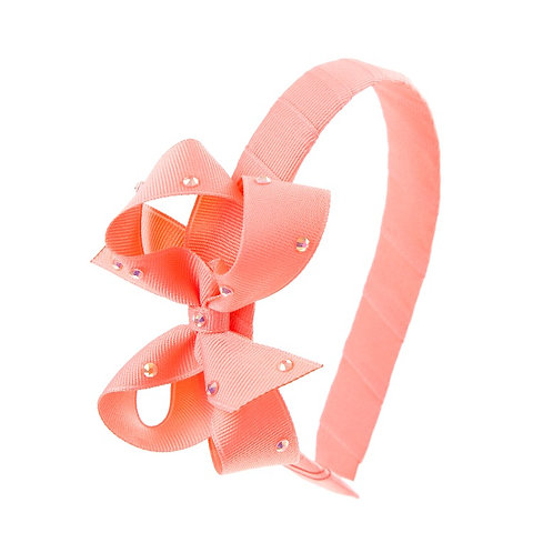 Bow Hairband - Coral