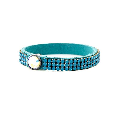 Three Row Single Wrap Bracelet - Caribbean Blue Opal