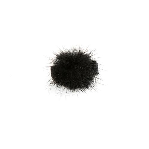 Small Mink Puff Hair Clip - Black