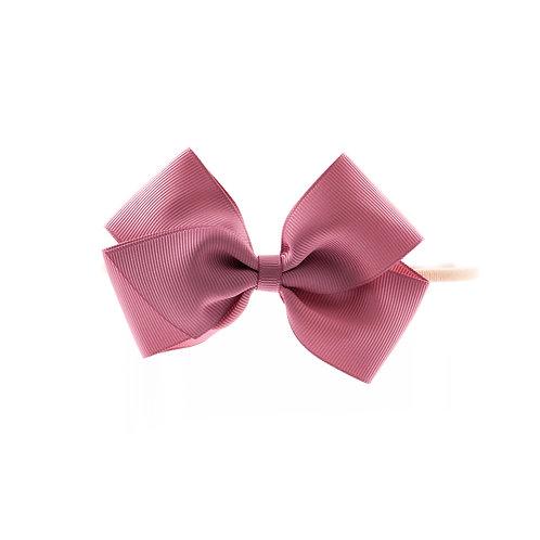 Medium London Bow Soft Hairband - Rosy Mauve