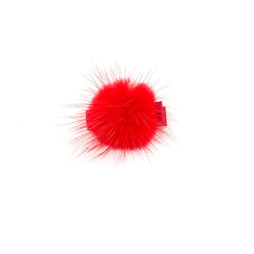 Small Mink Puff Hair Clip - Red