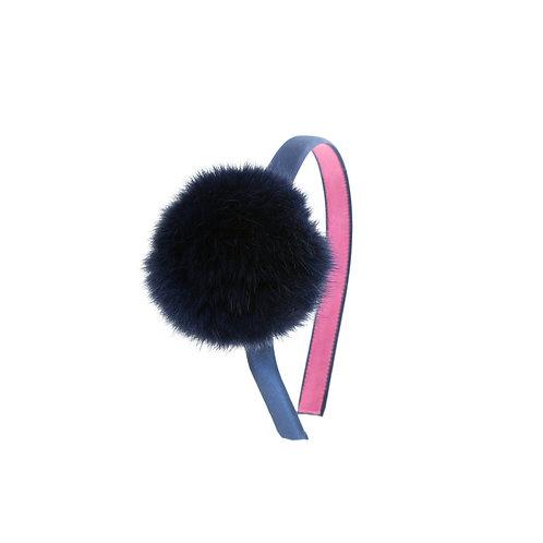Pom Pom Headband - Navy