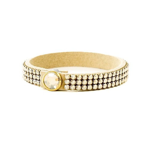 Three Row Single Wrap Bracelet - Crystal Golden Shadow