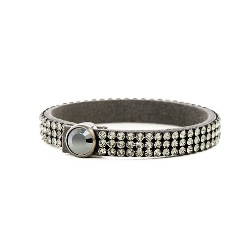 Three Row Single Wrap Bracelet - Black Diamond