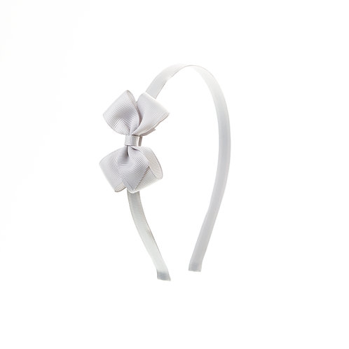 Small London Bow Hairband - Shell Grey