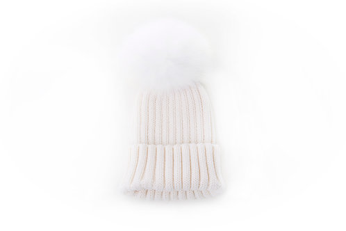 Merino Single Pom Child and Adult Hat - Ivory - 2 years to adult
