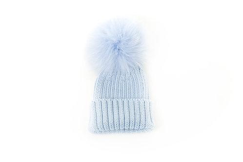 Merino Wool Single Pom Baby Hat - Blue - baby to 18 months