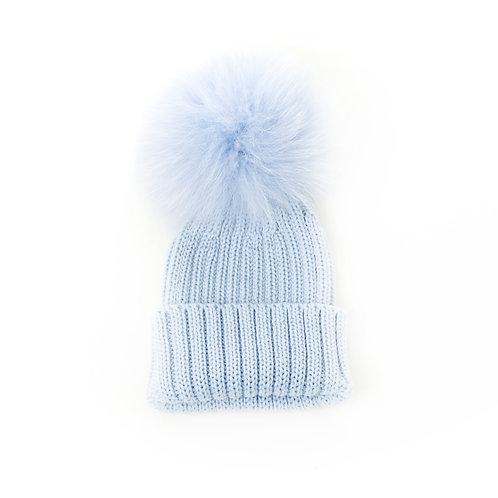 Merino Wool Single Pom Baby Hat - Blue - baby to 18 months