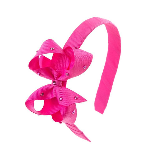 Bow Hairband - Raspberry Rose