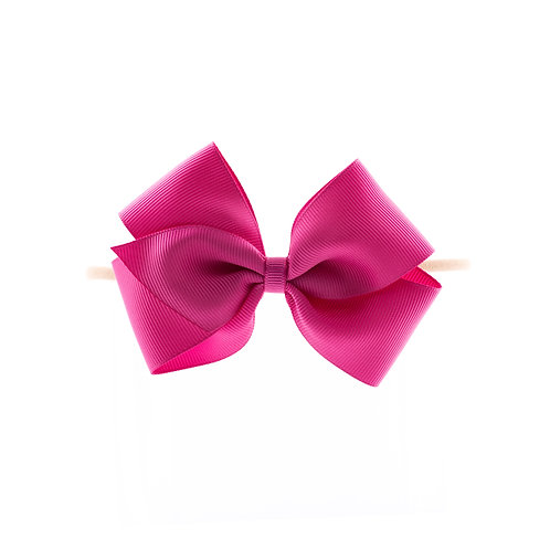 Medium London Bow Soft Hairband - Raspberry Rose