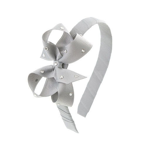 Bow Hairband - Shell Grey