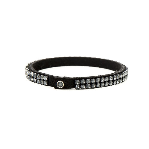 Two Row Single Wrap Bracelet - Crystal Silver Night