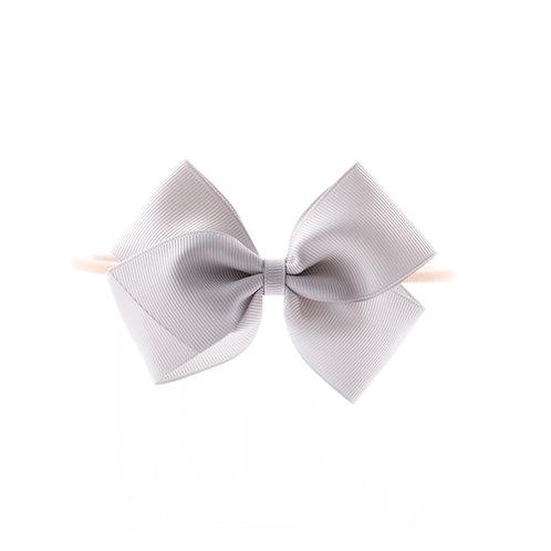 Medium London Bow Soft Hairband - Shell Grey