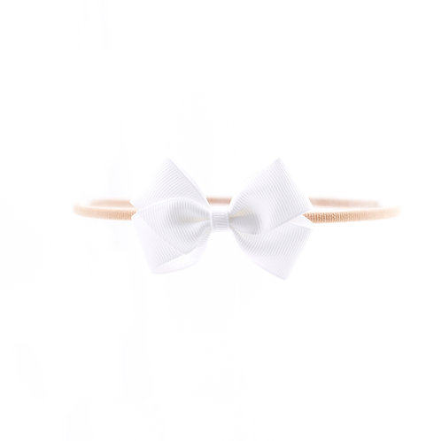 Small London Bow Soft Hairband - White