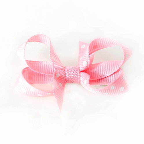 Small Bow - Pink White Dots