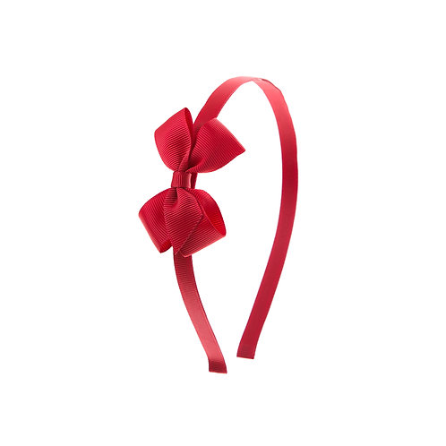 Small London Bow Hairband - Scarlet