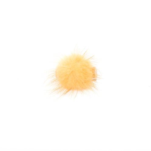 Small Mink Puff Hair Clip - Oatmeal